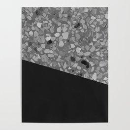 Terrazzo Texture Grey Black #7 Poster