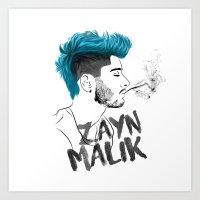 zayn malik Art Prints featuring Zayn Malik by artisticfanny
