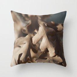 Dried Oak Leaves Throw Pillow