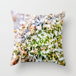 Diamond OG Kush Strain Top Shelf Indoor Hydro Trichomes Close Up View Throw Pillow
