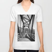 bridge V-neck T-shirts featuring Bridge by Danielle Podeszek