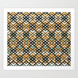 Abstract geometric pattern - bronze, black and green. Art Print