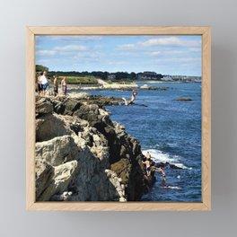Cliff Diving - Newport, Rhode Island by Jeanpaul Ferro Framed Mini Art Print