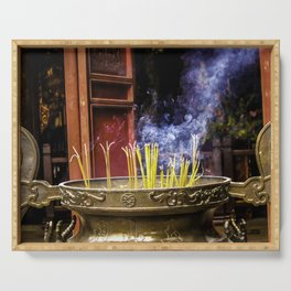 Incense Sticks Burning at the Ngoc Son Temple in Hanoi, Vietnam Serving Tray