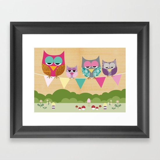 Cute owls on a flag banner Framed Art Print