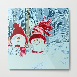 Snowman walk Metal Print