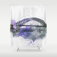 sydney Shower Curtains featuring Sydney Harbor Bridge II by LebensART