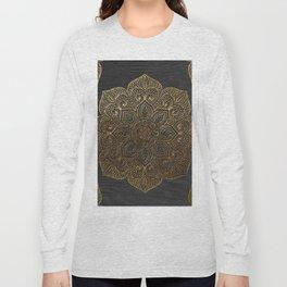 Wood Mandala - Gold Long Sleeve T-shirt