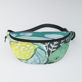 Bird and Leaf Mixed Media Collage Fanny Pack