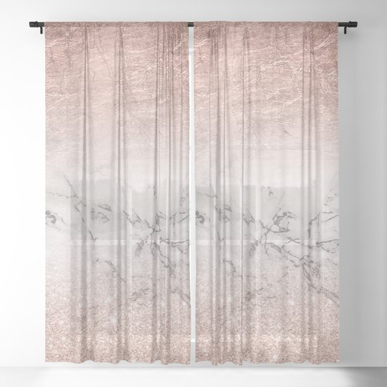 Modern faux rose gold glitter and foil ombre gradient on white marble color block by girlytrend