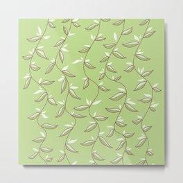 Gentle Green Leaves And Lianas Pattern Metal Print