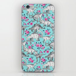 Dinosaurs and Roses - turquoise blue iPhone Skin