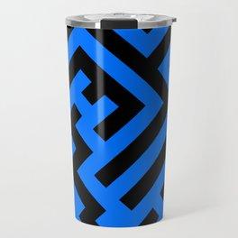 Black and Brandeis Blue Diagonal Labyrinth Travel Mug