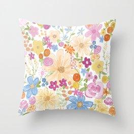 Where the Wild Flowers grow Throw Pillow