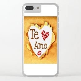Te amo Broken paper Clear iPhone Case