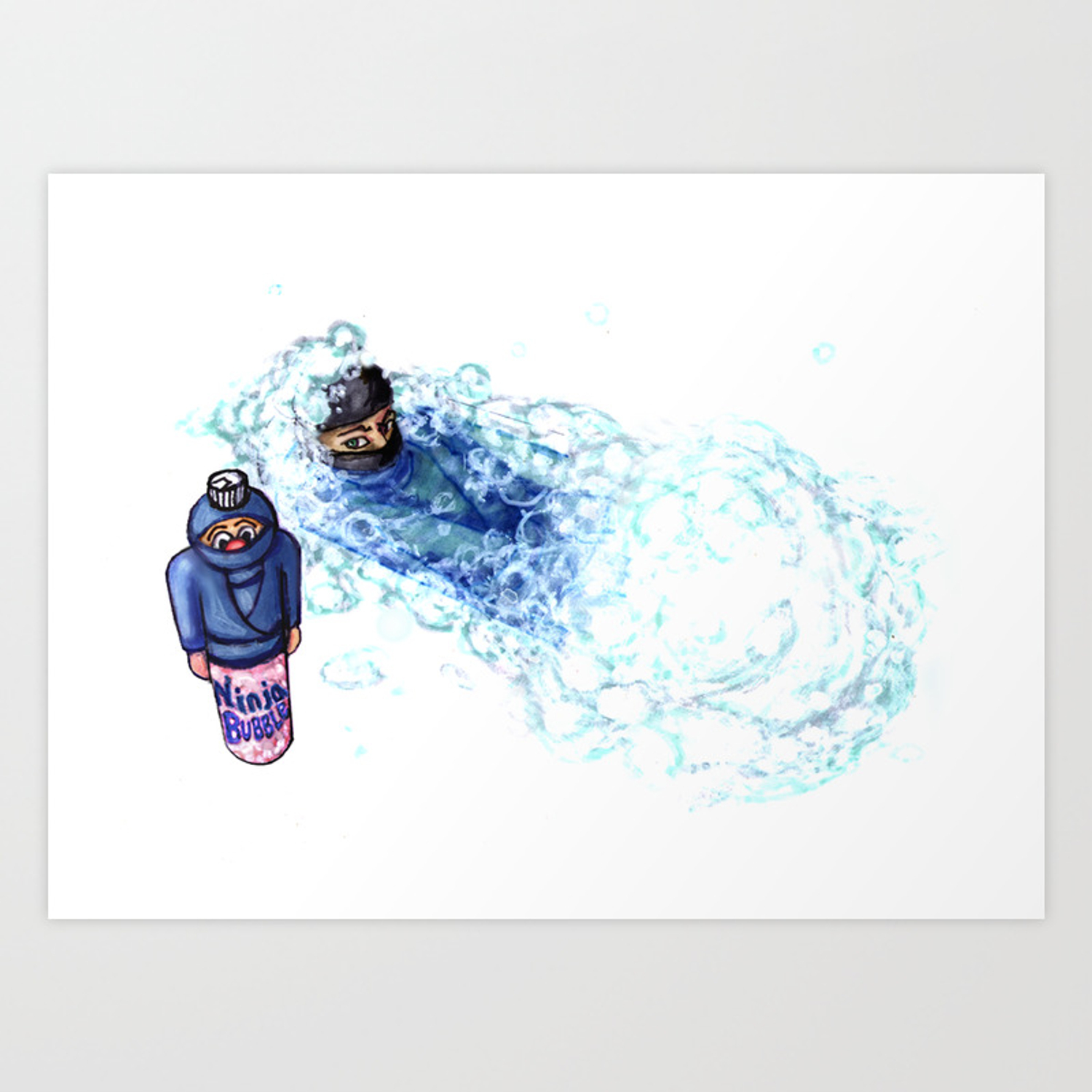 Ninja Stealthily Disappears Into Bubble Bath Art Print By Delgaizo Society6