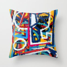 Yellow Life Graffiti Abstract Street Art by Emmanuel Signorino© Throw Pillow