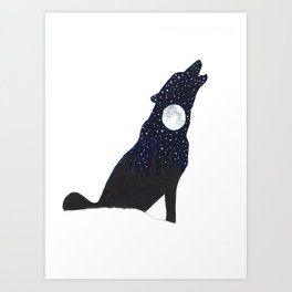 Howling Wolf Starry Night Silhouette Art Print