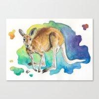 kangaroo Canvas Prints featuring Kangaroo by Kyra Kalageorgi