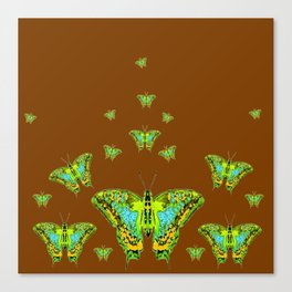 GREEN-YELLOW MOTHS ON COFFEE BROWN Canvas Print
