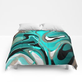 Liquify 2 - Brown, Turquoise, Teal, Black, White Comforters