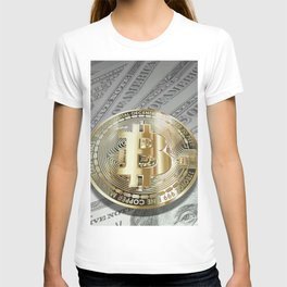 Bitcoin with dollar bills, cryptocurrency concept T-shirt