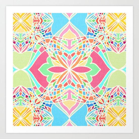 Moroccan Inspired Bright Pastel Doodle Design Art Print