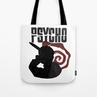 psycho Tote Bags featuring Psycho by Vickn
