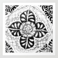 Black and White Talavera Six Art Print