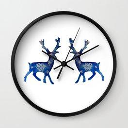 Winter Deer Snowflakes Wall Clock
