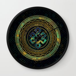 Marble and Abalone Endless Knot  in Mandala Decorative Shape Wall Clock