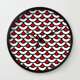 Red Scallops Wall Clock
