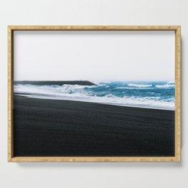Melancholic Beach Stroll in Iceland Serving Tray