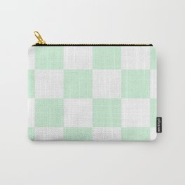 Large Checkered - White and Pastel Green Carry-All Pouch