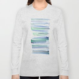 Frozen Summer Series 160 | Watercolor Simple Pattern Blue Shades Vertical Long Sleeve T-shirt