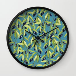 Watercolor Olive Branch Leaves on Stormy Blue Wall Clock