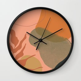 Terra abstract shapes and plants I Wall Clock