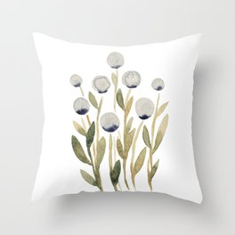 Simple watercolor flowers - olive and gray Throw Pillow