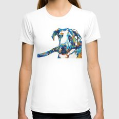 Great Dane Art - Stick With Me - By Sharon Cummings LARGE White Womens Fitted Tee