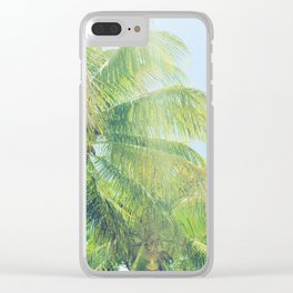 sunny palms Clear iPhone Case