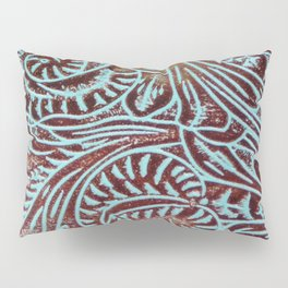 Light Blue & Brown Tooled Leather Pillow Sham