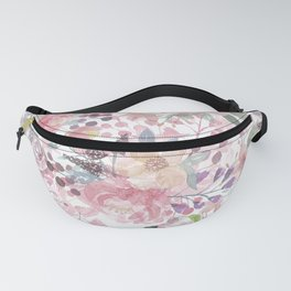 Pastel pink coral green watercolor flowers Fanny Pack