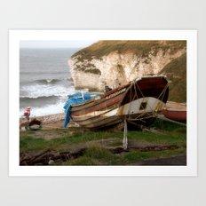 Boats at Thornwick Bay Art Print