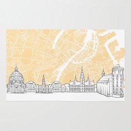 Copenhagen Denmark Skyline Map Rug