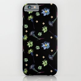 Carnations, Soft Grunge, Black, Blue, Real Flowers Pattern iPhone Case