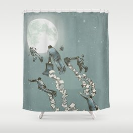 Flight of the Salary Men (color option) Shower Curtain