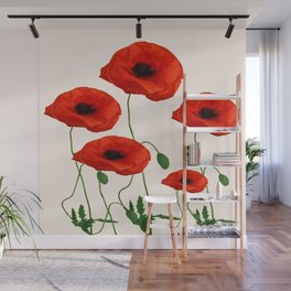 GRAPHIC RED POPPY FLOWERS ON WHITE Wall Mural