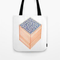 labyrinth Tote Bags featuring labyrinth by Juan Paz
