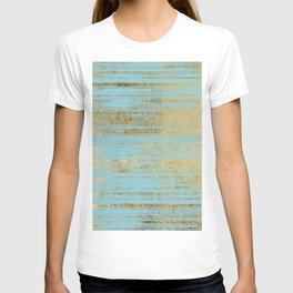 Chic Gold Brushstrokes on Island Paradise Blue T-shirt