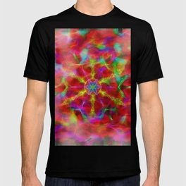 Vibrant kaleidoscope in red mist T-shirt
